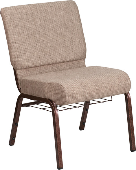 TYCOON Series 21''W Church Chair in Beige Fabric with Book Rack - Copper Vein Frame