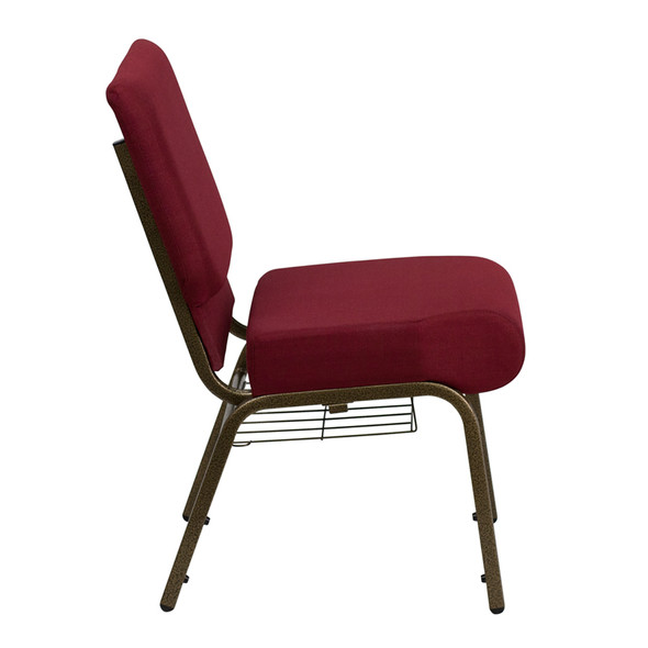 TYCOON Series 21''W Church Chair in Burgundy Fabric with Cup Book Rack - Gold Vein Frame