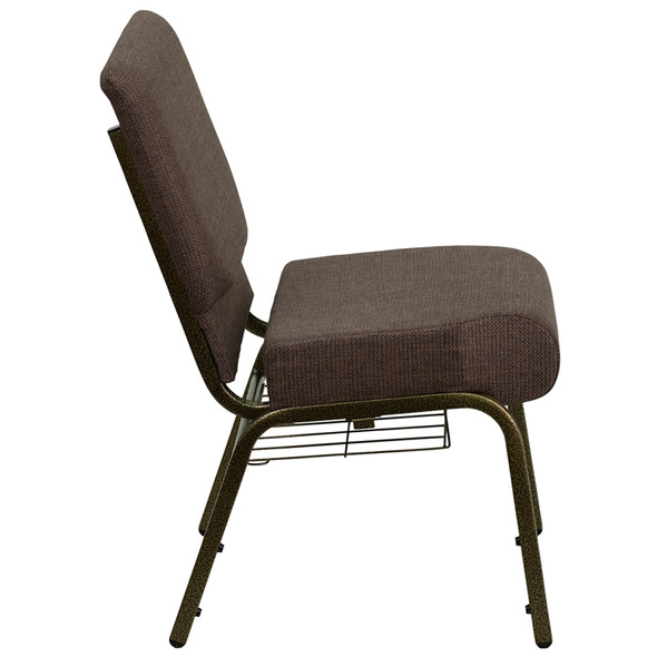 TYCOON Series 21''W Church Chair in Brown Fabric with Cup Book Rack - Gold Vein Frame