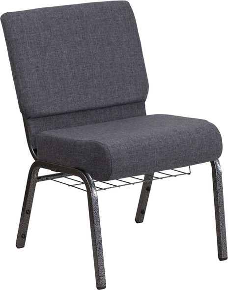 TYCOON Series 21''W Church Chair in Dark Gray Fabric with Book Rack - Silver Vein Frame