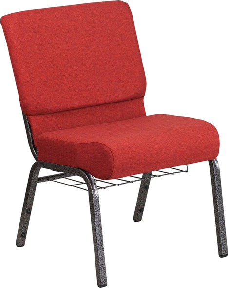 TYCOON Series 21''W Church Chair in Crimson Fabric with Cup Book Rack - Silver Vein Frame
