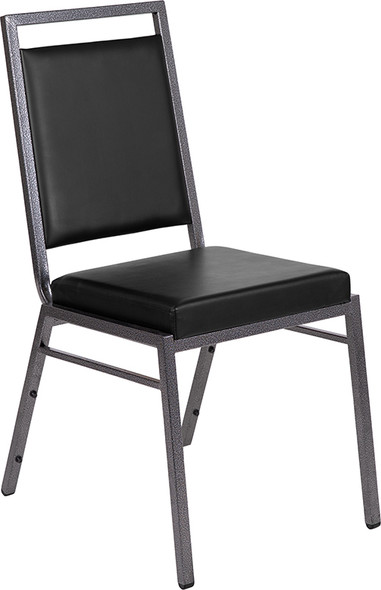 TYCOON Series Square Back Stacking Banquet Chair in Black Vinyl with Silvervein Frame