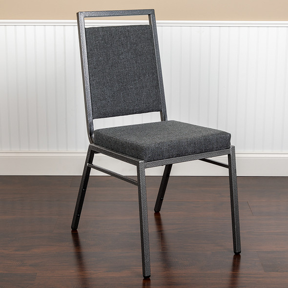TYCOON Series Square Back Stacking Banquet Chair in Dark Gray Fabric with Silvervein Frame