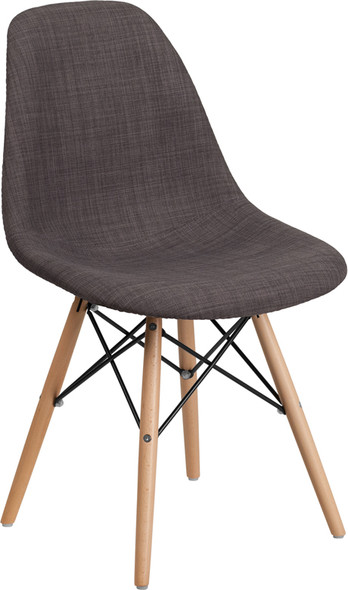 Elon Series Siena Gray Fabric Chair with Wooden Legs