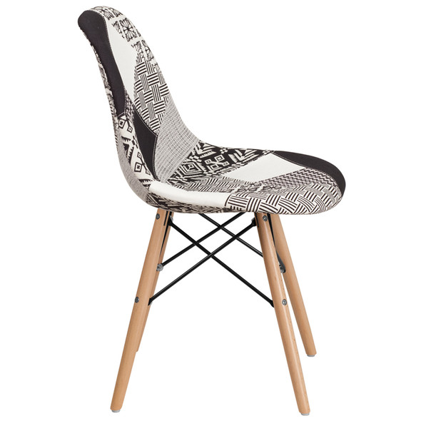 Elon Series Turin Patchwork Fabric Chair with Wooden Legs