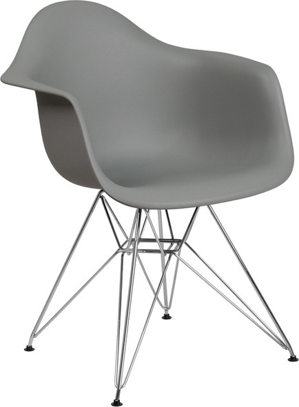 Alonza Series Moss Gray Plastic Chair with Chrome Base