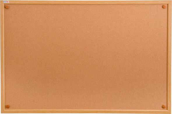 "Viztex Cork Bulletin Board 48"" X 36"" Oak Effect Frame"