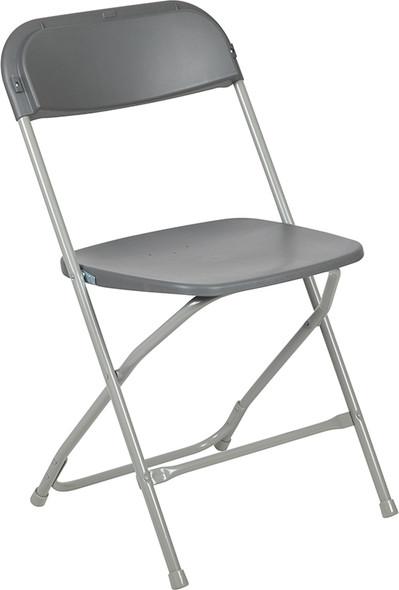TYCOON Series 650 lb. Capacity Premium Grey Plastic Folding Chair