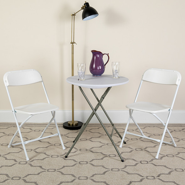 TYCOON Series 650 lb. Capacity Premium White Plastic Folding Chair