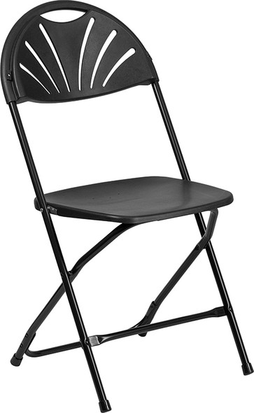 TYCOON Series 650 lb. Capacity Black Plastic Fan Back Folding Chair