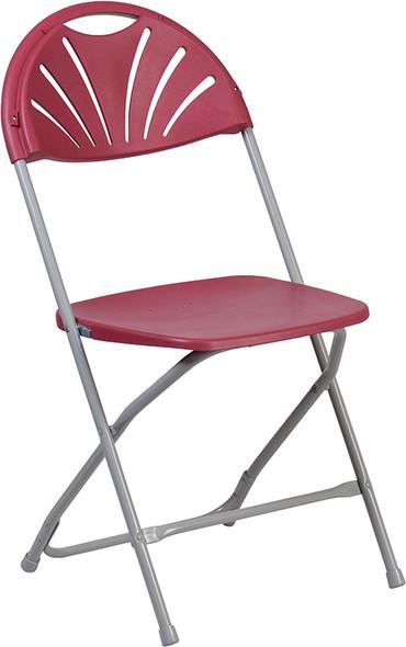 TYCOON Series 650 lb. Capacity Burgundy Plastic Fan Back Folding Chair