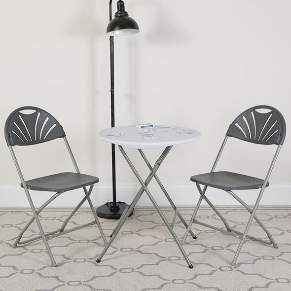 TYCOON Series 650 lb. Capacity Charcoal Plastic Fan Back Folding Chair