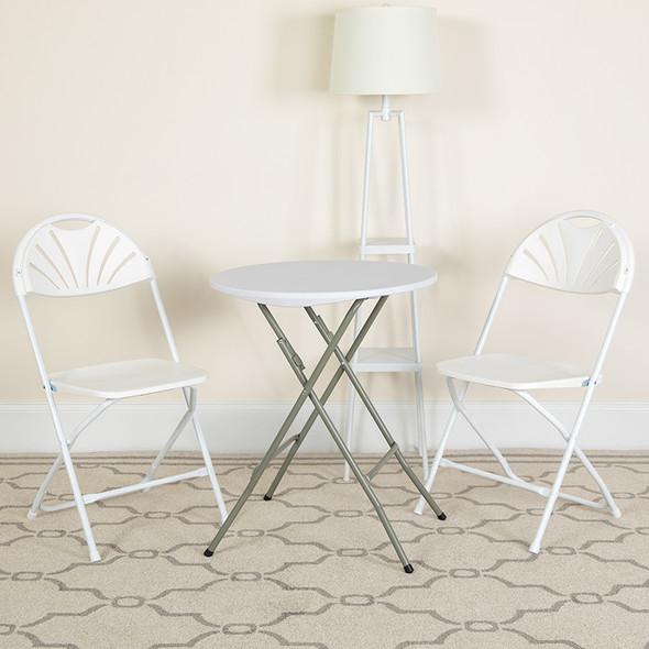 TYCOON Series 650 lb. Capacity White Plastic Fan Back Folding Chair
