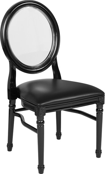 TYCOON Series 900 lb. Capacity King Louis Chair with Transparent Back, Black Vinyl Seat and Black Frame
