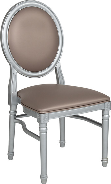 TYCOON Series 900 lb. Capacity King Louis Chair with Taupe Vinyl Back and Seat and Silver Frame
