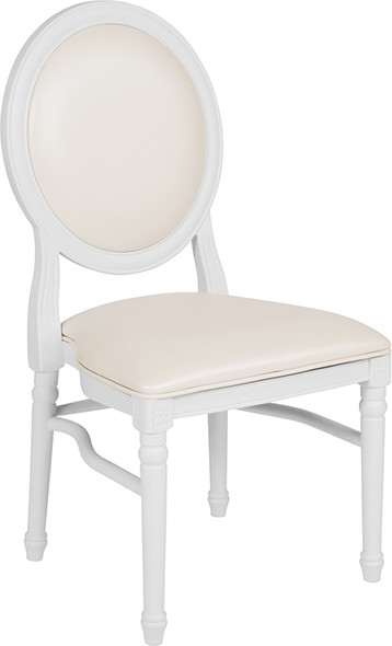 TYCOON Series 900 lb. Capacity King Louis Chair with White Vinyl Back and Seat and White Frame