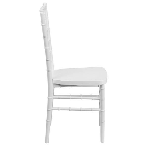 TYCOON PREMIUM Series White Resin Stacking Chiavari Chair