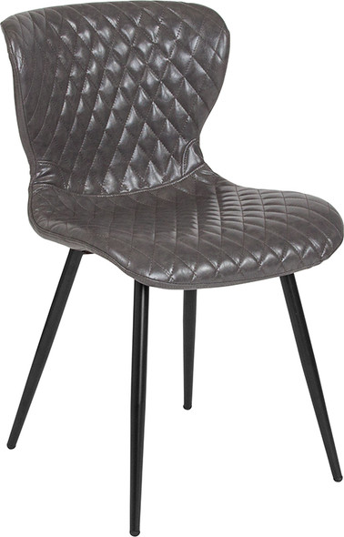 Bristol Contemporary Upholstered Chair in Gray Vinyl