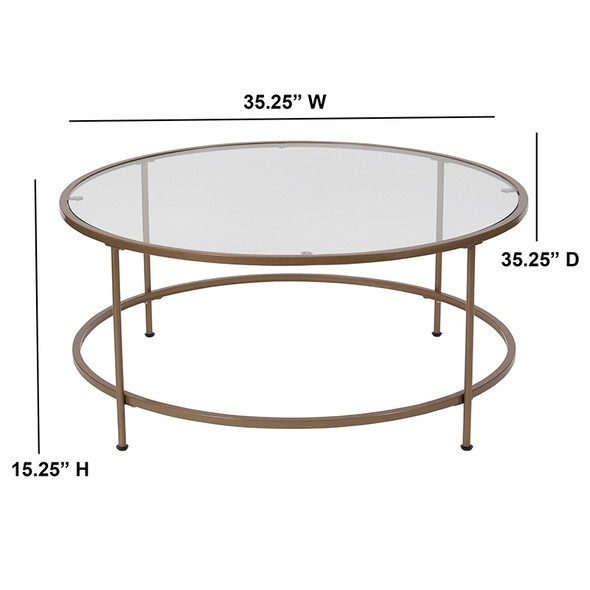Astoria Collection Glass Coffee Table with Matte Gold Frame