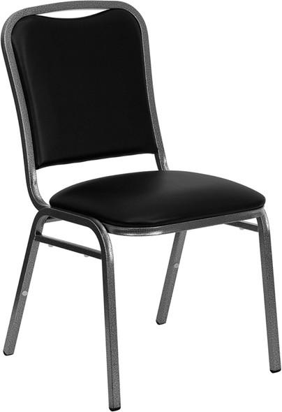 TYCOON Series Stacking Banquet Chair in Black Vinyl - Silver Vein Frame