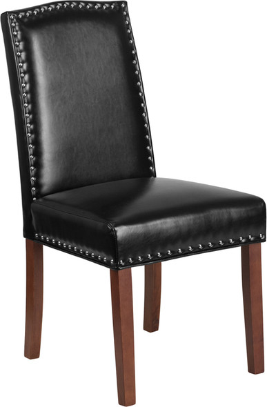 TYCOON Hampton Hill Series Black Leather Parsons Chair with Silver Accent Nail Trim