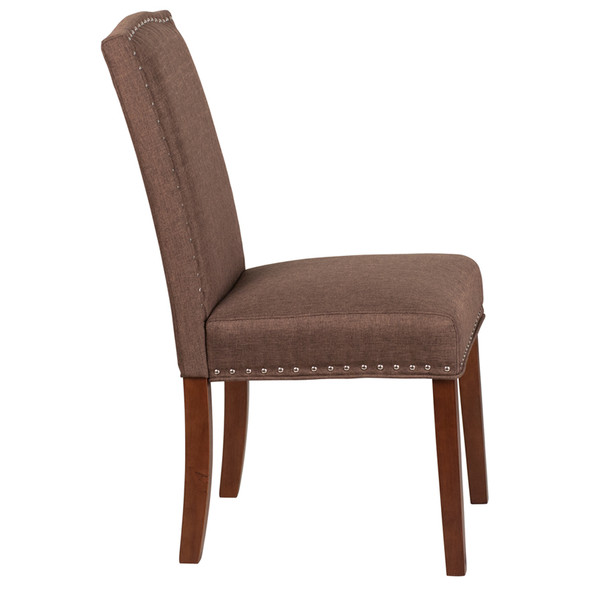TYCOON Hampton Hill Series Brown Fabric Parsons Chair with Silver Accent Nail Trim