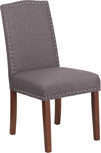 TYCOON Hampton Hill Series Gray Fabric Parsons Chair with Silver Accent Nail Trim