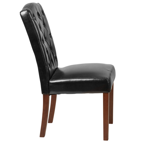 TYCOON Grove Park Series Black Leather Tufted Parsons Chair