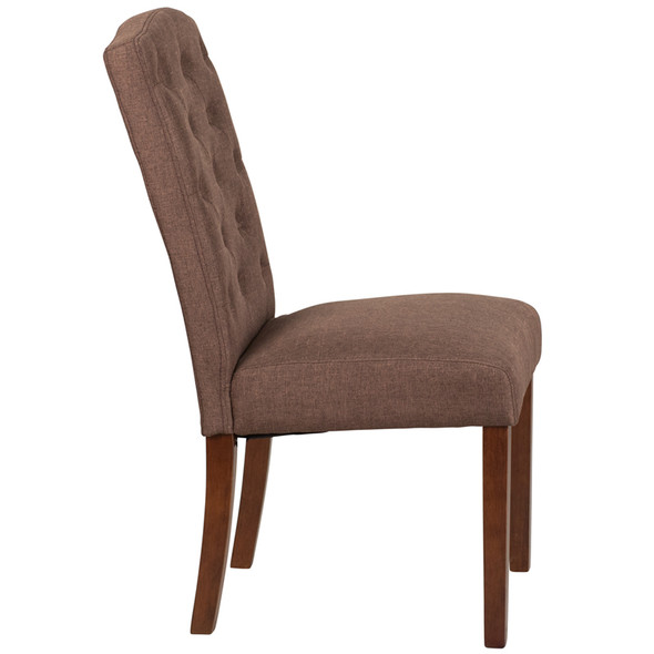 TYCOON Grove Park Series Brown Fabric Tufted Parsons Chair