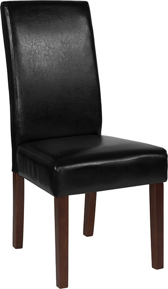 Greenwich Series Black Leather Parsons Chair