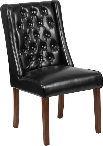 TYCOON Preston Series Black Leather Tufted Parsons Chair