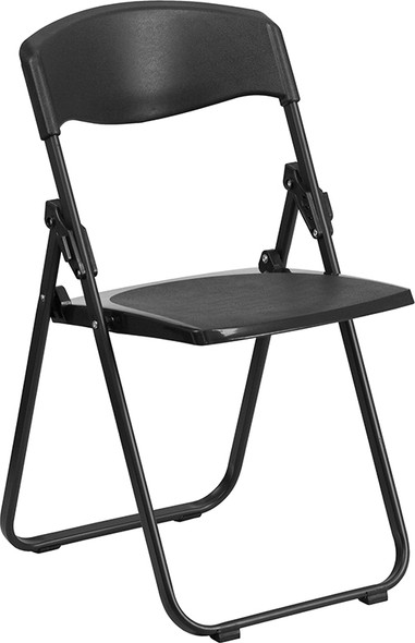 TYCOON Series 880 lb. Capacity Heavy Duty Black Plastic Folding Chair with Built-in Ganging Brackets