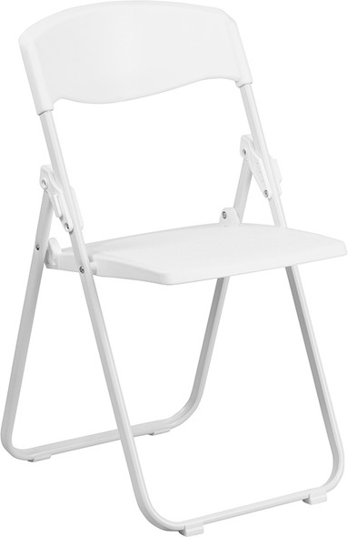 TYCOON Series 880 lb. Capacity Heavy Duty White Plastic Folding Chair with Built-in Ganging Brackets