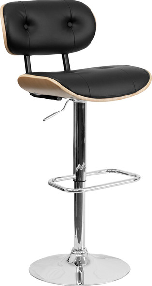 Beech Bentwood Adjustable Height Barstool with Button Tufted Black Vinyl Seat