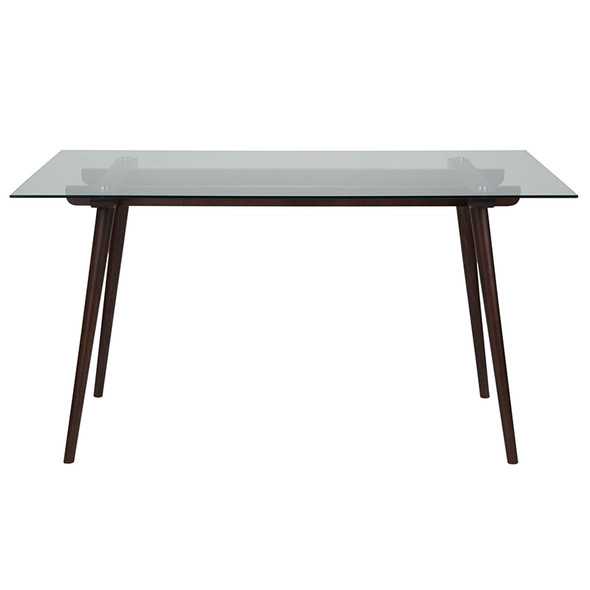 """Meriden 31.5"""" x 55"""" Rectangular Solid Espresso Wood Table with Clear Glass Top"""
