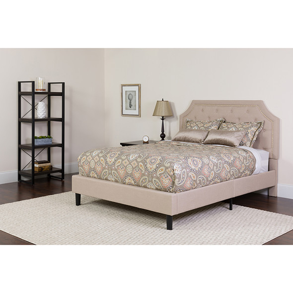 Brighton Full Size Tufted Upholstered Platform Bed in Beige Fabric with Memory Foam Mattress