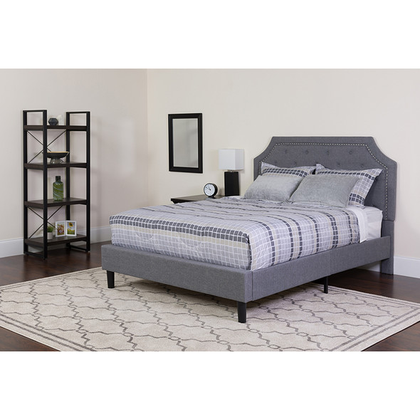 Brighton Full Size Tufted Upholstered Platform Bed in Light Gray Fabric with Pocket Spring Mattress