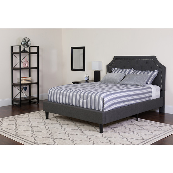 Brighton Twin Size Tufted Upholstered Platform Bed in Dark Gray Fabric with Pocket Spring Mattress
