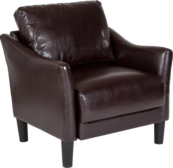 Asti Upholstered Chair in Brown Leather