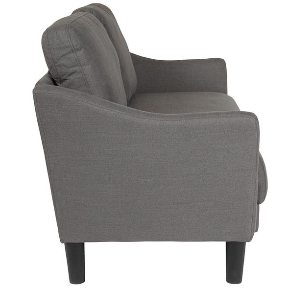 Asti Upholstered Loveseat in Dark Gray Fabric