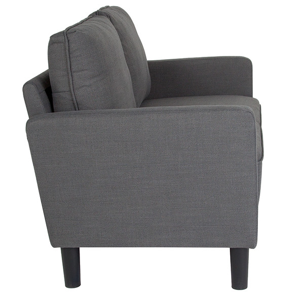Washington Park Upholstered Loveseat in Dark Gray Fabric