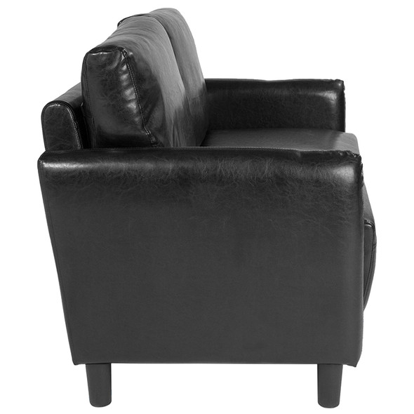 Candler Park Upholstered Loveseat in Black Leather
