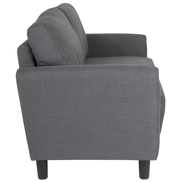 Candler Park Upholstered Loveseat in Dark Gray Fabric