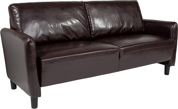 Candler Park Upholstered Sofa in Brown Leather