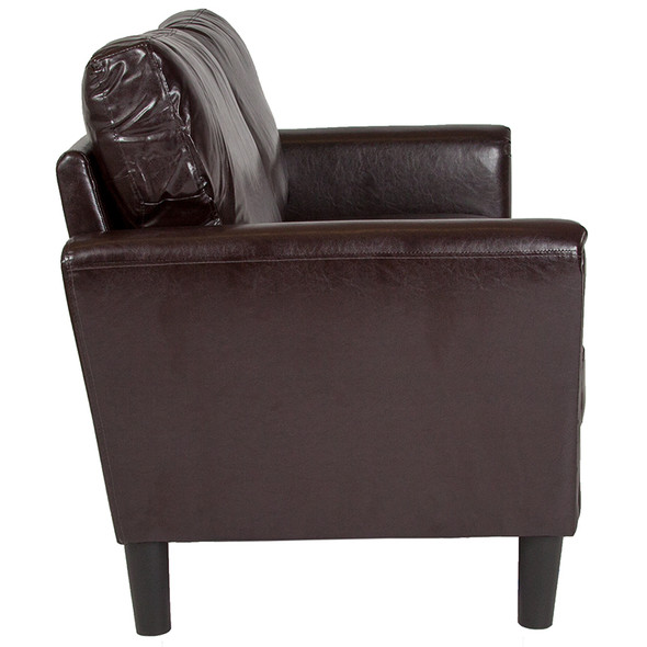 Bari Upholstered Loveseat in Brown Leather