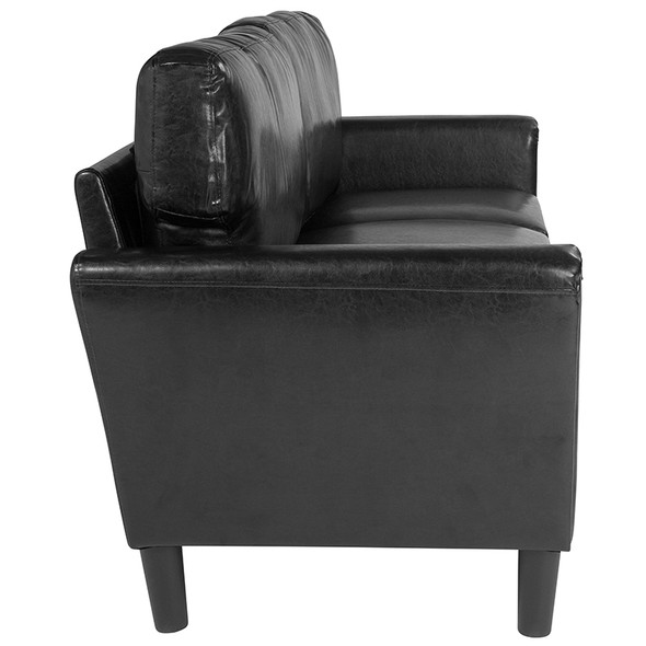 Bari Upholstered Sofa in Black Leather
