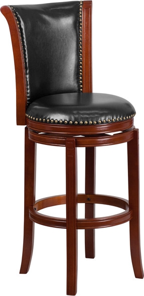 30'' High Dark Chestnut Wood Barstool with Panel Back and Black Leather Swivel Seat