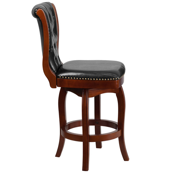 26'' High Cherry Wood Counter Height Stool with Button Tufted Back and Black Leather Swivel Seat