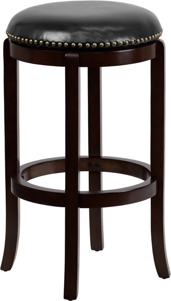 29'' High Backless Cappuccino Wood Barstool with Black Leather Swivel Seat