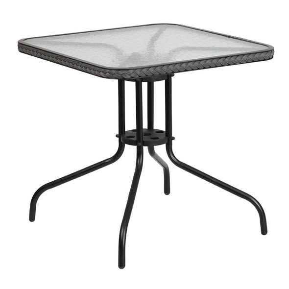 28'' Square Tempered Glass Metal Table with Gray Rattan Edging